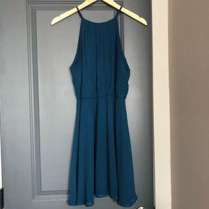 LUSH blouson dress in teal blue